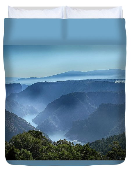 Duvet Cover featuring the photograph Smoke Over Flaming Gorge by Marie Leslie