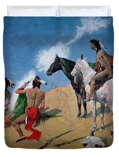 Smoke Signals Duvet Cover by Frederic Remington