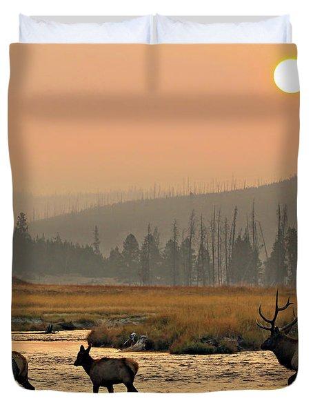 Smokey Elk Crossing Duvet Cover