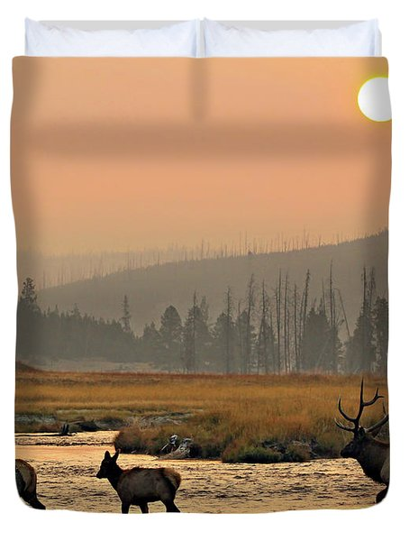 Smokey Elk Crossing Duvet Cover