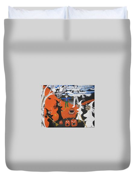 Duvet Cover featuring the painting Smokey Halloween by Jeffrey Koss