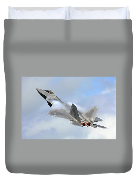 Duvet Cover featuring the digital art Smokin - F22 Raptor On The Go by Pat Speirs