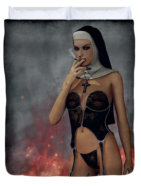 Smokin Nun Duvet Cover by Maynard Ellis