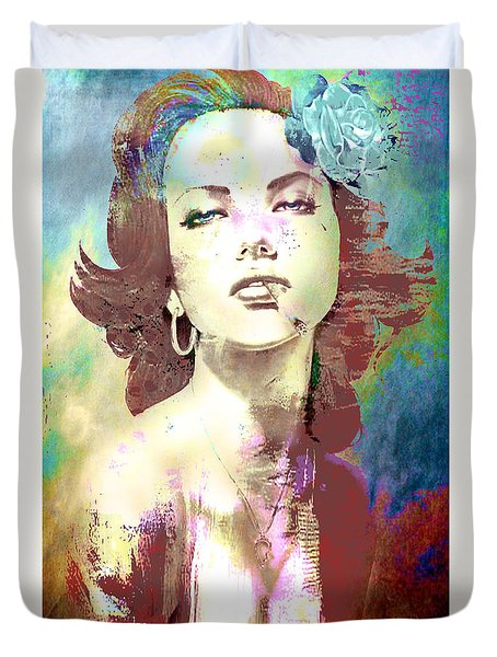 Duvet Cover featuring the digital art Smoking Chick by Greg Sharpe