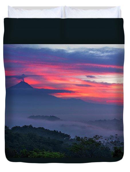 Duvet Cover featuring the photograph Smoking Volcano And Borobudur Temple by Pradeep Raja Prints