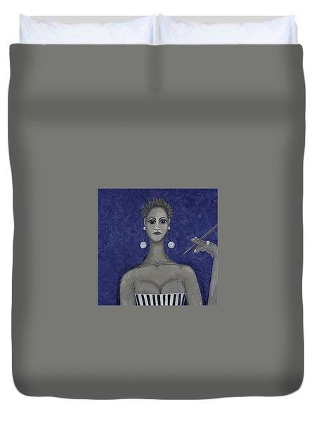 Smoking Woman 3 - Blue Duvet Cover