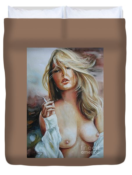 Duvet Cover featuring the painting Smoking Woman by Elena Oleniuc