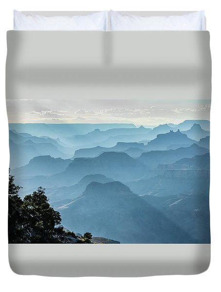 Duvet Cover featuring the photograph Smoky Canyons by Steven Sparks