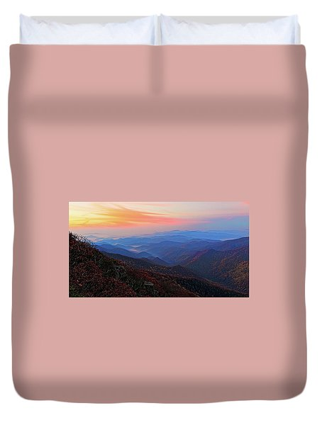 Dawn From Standing Indian Mountain Duvet Cover