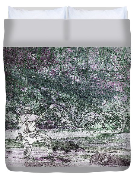 Duvet Cover featuring the photograph Smoky Mountain Fisherman by Mike Eingle