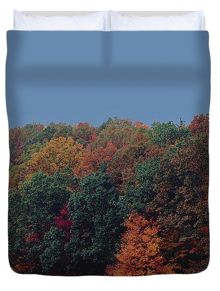 Smoky Mountains In Autumn Duvet Cover by DigiArt Diaries by Vicky B Fuller