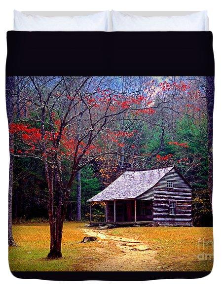 Smoky Mtn. Cabin Duvet Cover