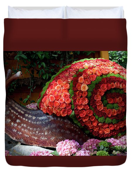 Snail With Flowers Duvet Cover