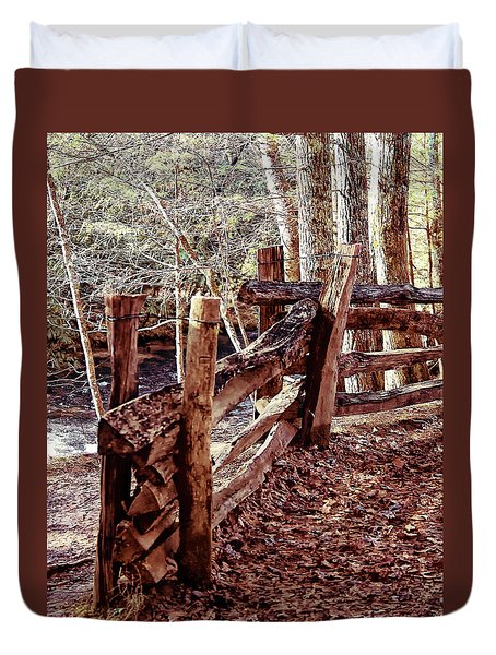 Duvet Cover featuring the photograph Snake Fence by B Wayne Mullins