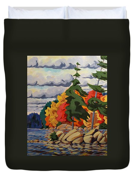 Snake Island In Fall-close Duvet Cover by David Gilmore