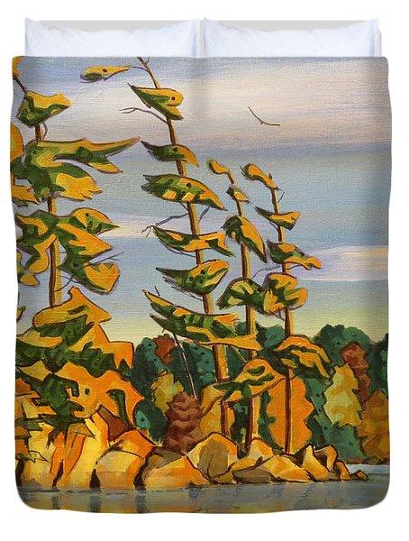 Snake Island In Fall Sunset Duvet Cover
