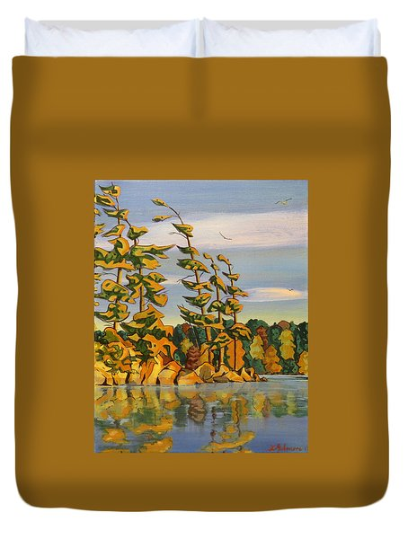 Snake Island In Fall Sunset Duvet Cover by David Gilmore