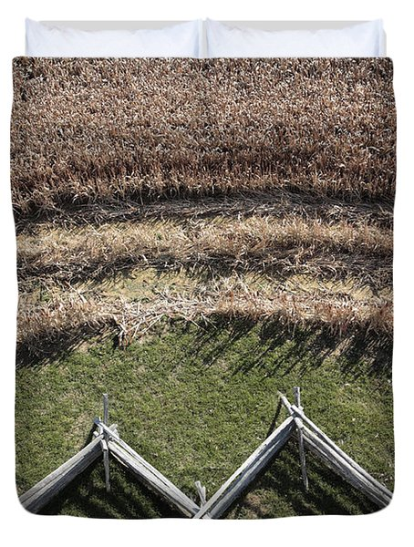 Snake-rail Fence And Cornfield Duvet Cover