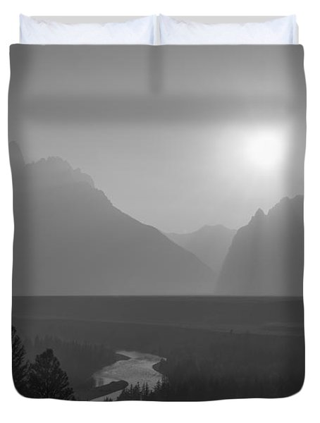 Snake River Sunset Bw Duvet Cover
