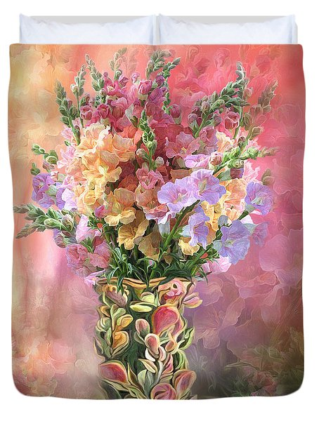 Duvet Cover featuring the mixed media Snapdragons In Snapdragon Vase by Carol Cavalaris