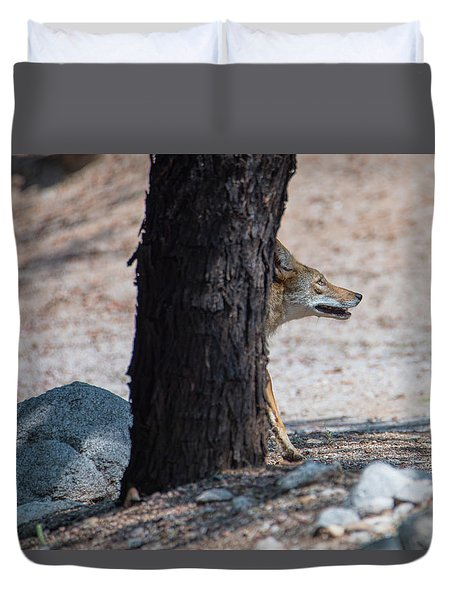 Sneaky Coyote  Duvet Cover