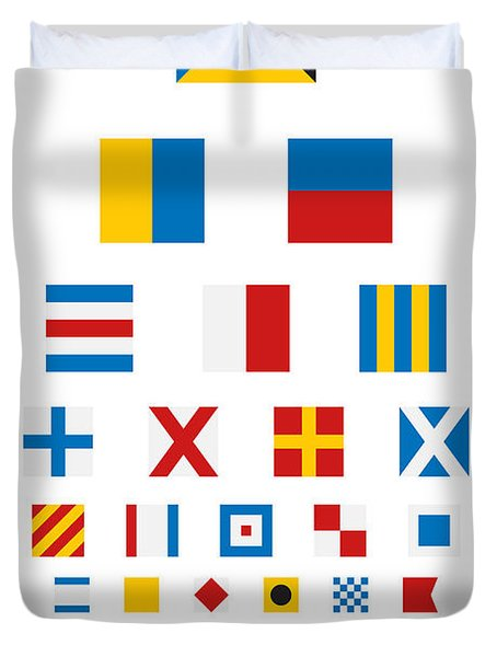 Snellen Chart - Nautical Flags Duvet Cover by Martin Krzywinski