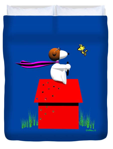 Snoopy Evades The Red Baron Duvet Cover