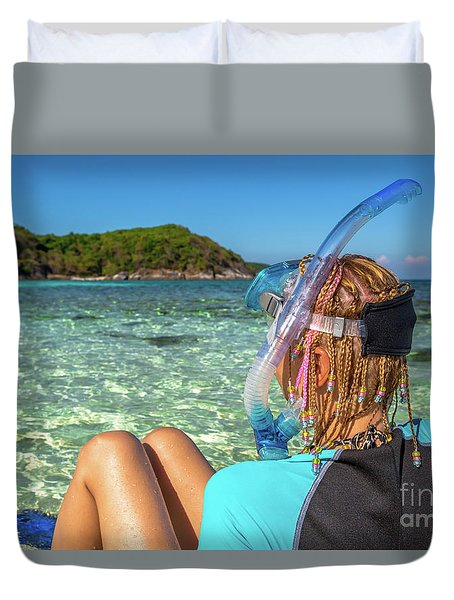 Snorkeler Relaxing On Tropical Beach Duvet Cover