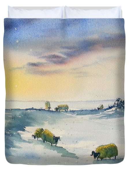 Snow And Sheep On The Moors Duvet Cover
