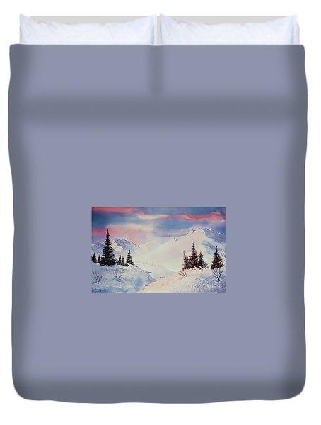 Snow And Sunrise Duvet Cover