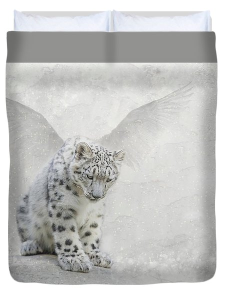 Duvet Cover featuring the digital art Snow Angel by Nicole Wilde