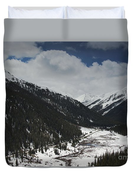 Snow At Independence Pass Colorado Highway 82 Duvet Cover