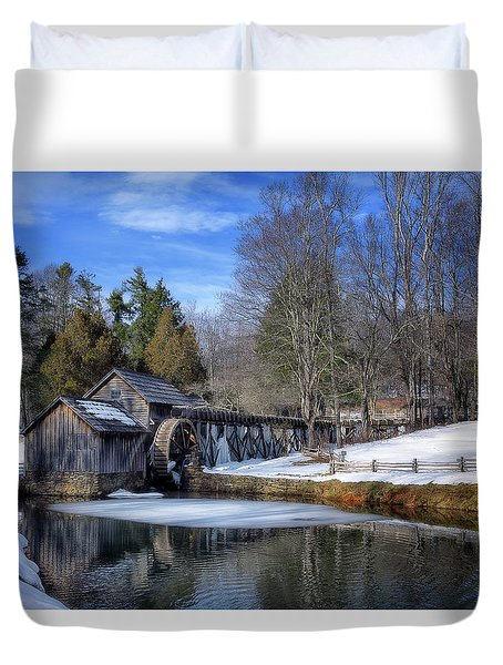 Snow At Mabry Mill Duvet Cover