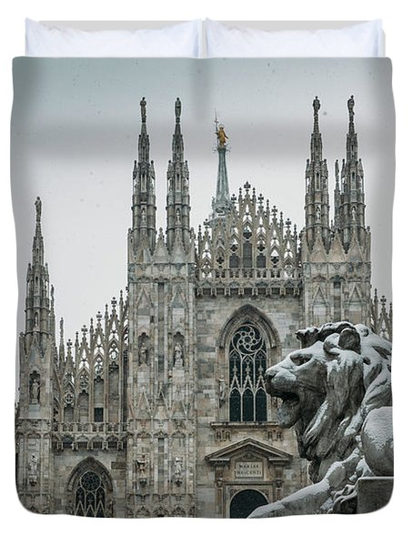 Snow At Milan's Duomo Cathedral  Duvet Cover