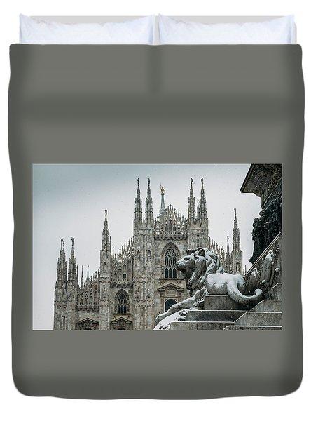Snow At Milan's Duomo Cathedral  Duvet Cover