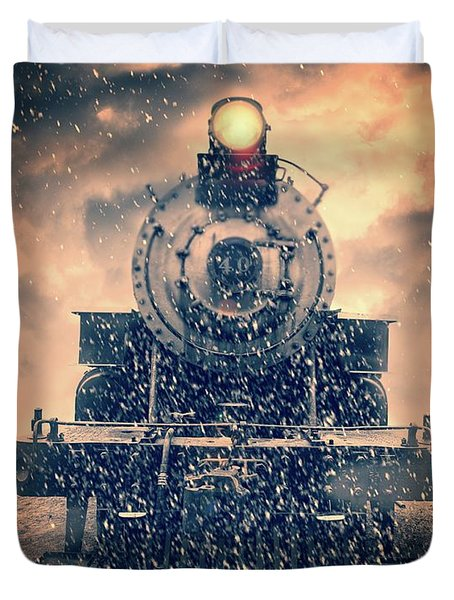 Duvet Cover featuring the photograph Snow Bound Steam Train by Edward Fielding