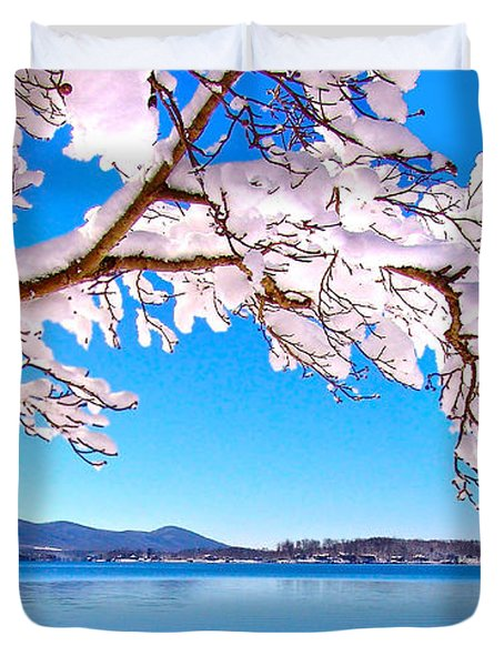 Snow Branch Smith Mountain Lake Duvet Cover