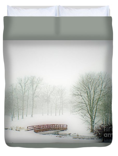 Duvet Cover featuring the photograph Snow Bridge by Polly Peacock
