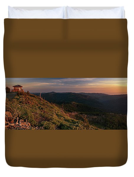 Duvet Cover featuring the photograph Snow Camp Lookout by Leland D Howard
