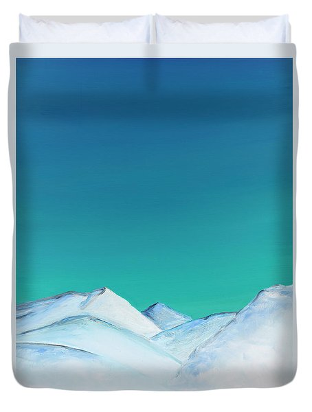 Snow Capped Mountains Duvet Cover by Elizabeth Lock