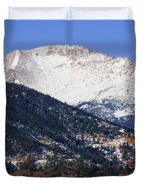 Snow Capped Pikes Peak In Winter Duvet Cover