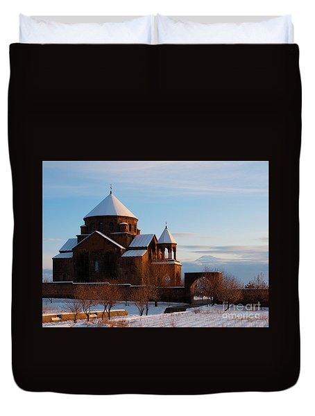 Snow Capped St. Hripsipe Church At Winter, Armenia Duvet Cover
