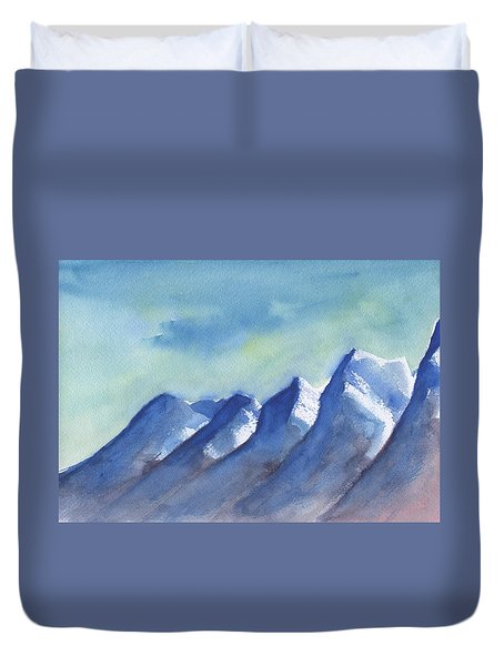Duvet Cover featuring the painting Snow Caps by Frank Bright