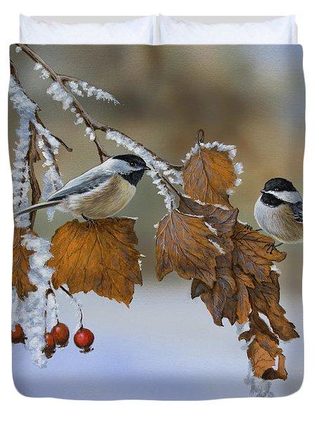 Snow Chickadees Duvet Cover