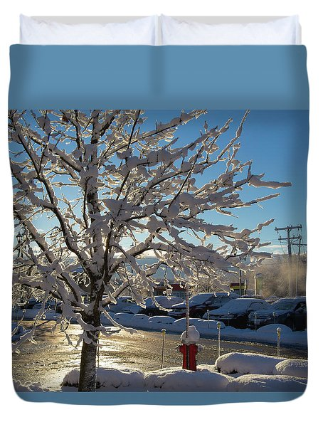 Snow-coated Tree Duvet Cover