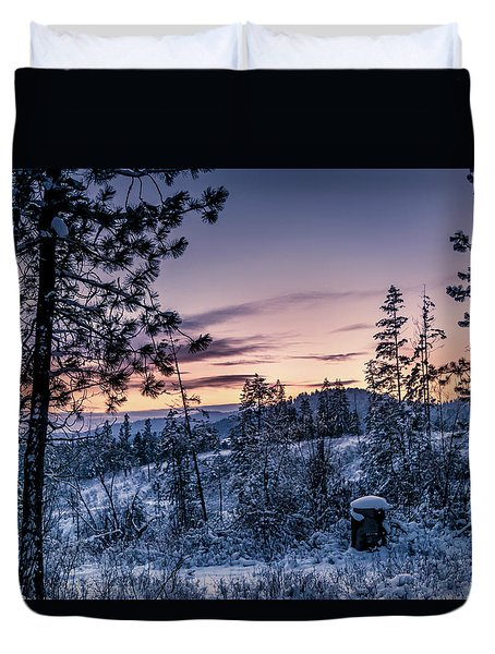 Snow Coved Trees And Sunset Duvet Cover