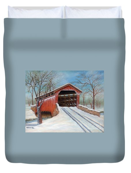 Snow Covered Bridge Duvet Cover