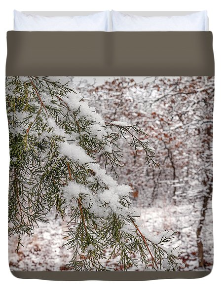 Snow Covered Cedar Duvet Cover by Doug Long