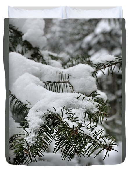 Snow Covered Evergreen Duvet Cover