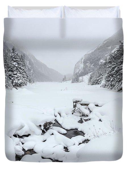Snow Covered Lake Duvet Cover